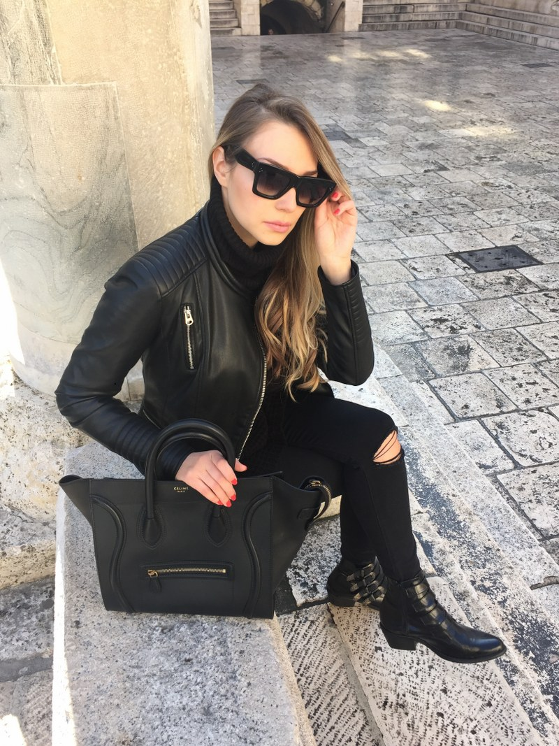 black, all black, leather jacket, zara, sweater, choies, black skinny jeans, frame denim, ankle boots, jonak paris, celine, bag, sunglasses, all black everything