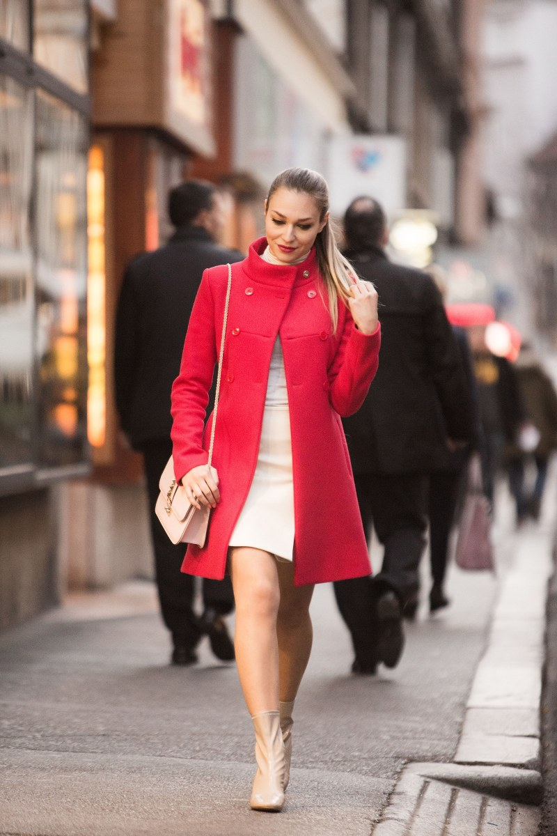coat, liu jo, pinko, skirt, valentino bag, pink pale color, zara, ankle boots, red coat