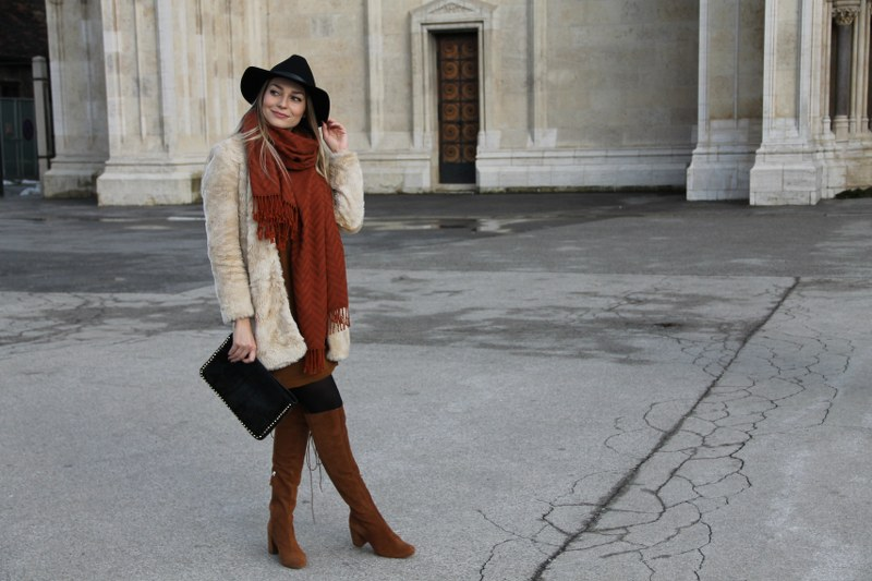 zara, dress, faux fur coat, scarf, h&m, hm, knee-high boots, hat, bag, youtube, video