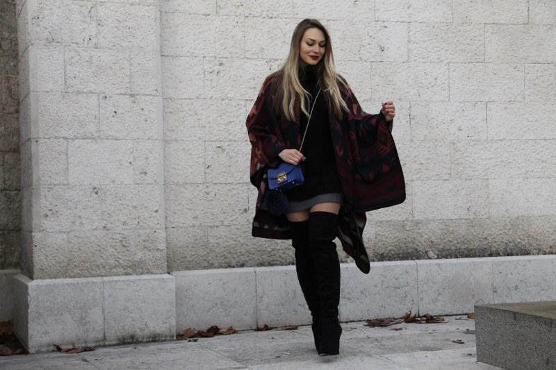 over-the-knee boots, poncho, sweater, bag, furla, zara, hm, revolve, le silla