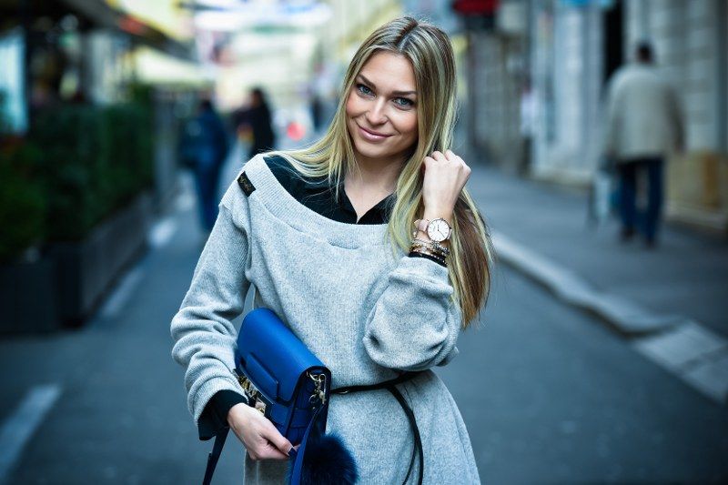coat, oversized sweater, bag, proenza schouler, over-the-knee boots, watch, urban watch, winter, outfit, blue coat, royal blue coat