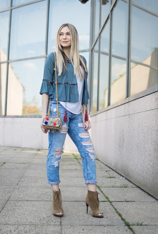 boho, boho style, boho blouse, boyfriend jeans, clutch, clutch bag, torbica