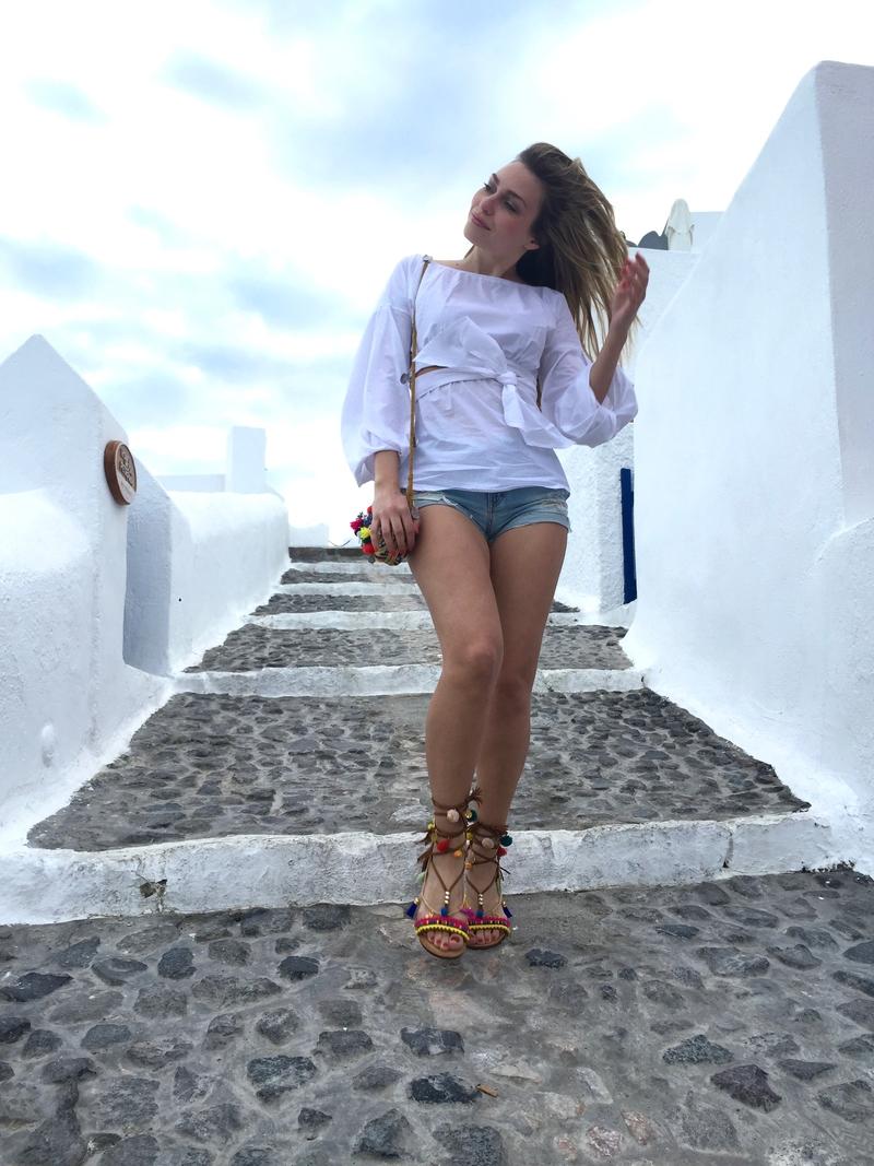 bag, gladiators, greece, pom pom, ss trends, ethno, ethnic style, santorini, shorts, zara, pom-pom bag, pop-pom gladiator sandals