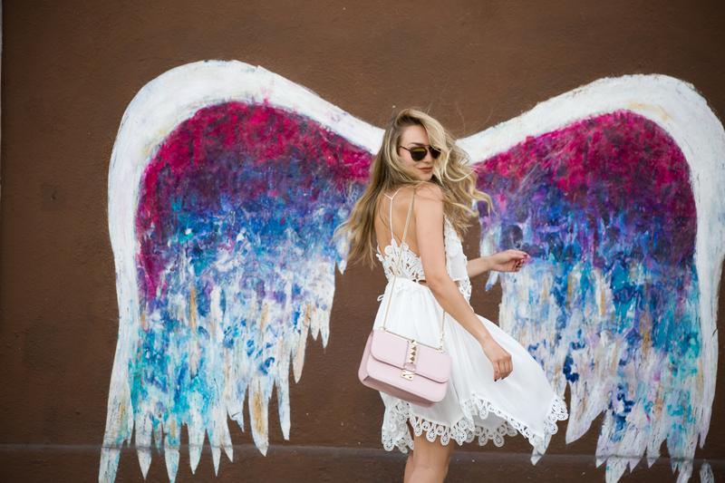 dress, white dress, shoes, aquazzura, aquazzura shoes, sonja kovac, bag, valentino bag, sunglasses, dior sunglasses, dior, valentino, los angeles, angel wings, angel wings in LA