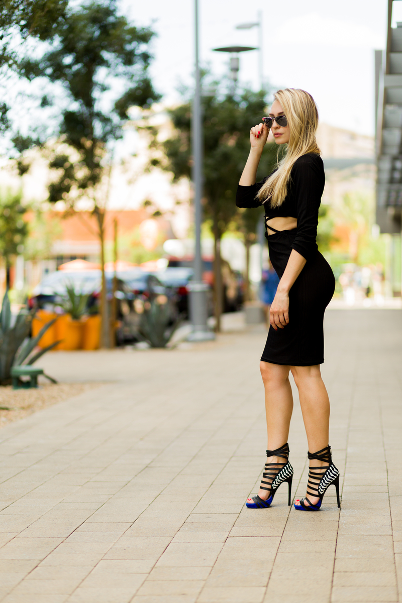 bodycon dress, dress, sunglasses, ray ban, heels, bebe, black, black dress, sonja kovac