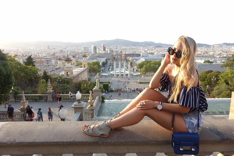 barcelona, sonja kovac, off the shoulder top, shorts, gladiator sandals, proenza schouler, bag, zara, sunglasses, fendi, fend sunglasses, watch, daniel wellington, rings, calvin klein, PS11 TINY