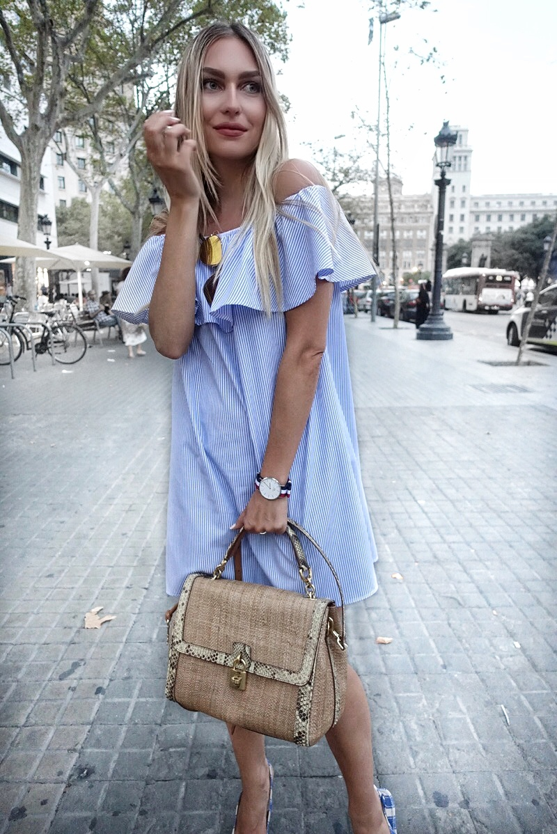 bag, barcelona, calvin klein, daniel wellington, dior, DOLCE & GABBANA, dress, endi centrar, naočale, haljina, haljine, off-the-shoulder dress, ring, shoes, sonja kovac, sunglasses, watch