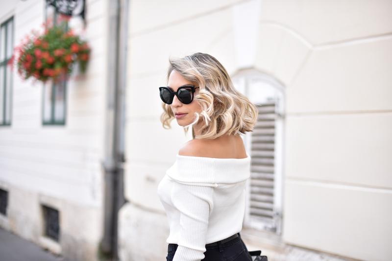 X off-shoulder sweaterX white sweaterX skinny jeansX beltX bagX calvin kleinX jimmy chooX sunglassesX fendiX fendi sunglasses