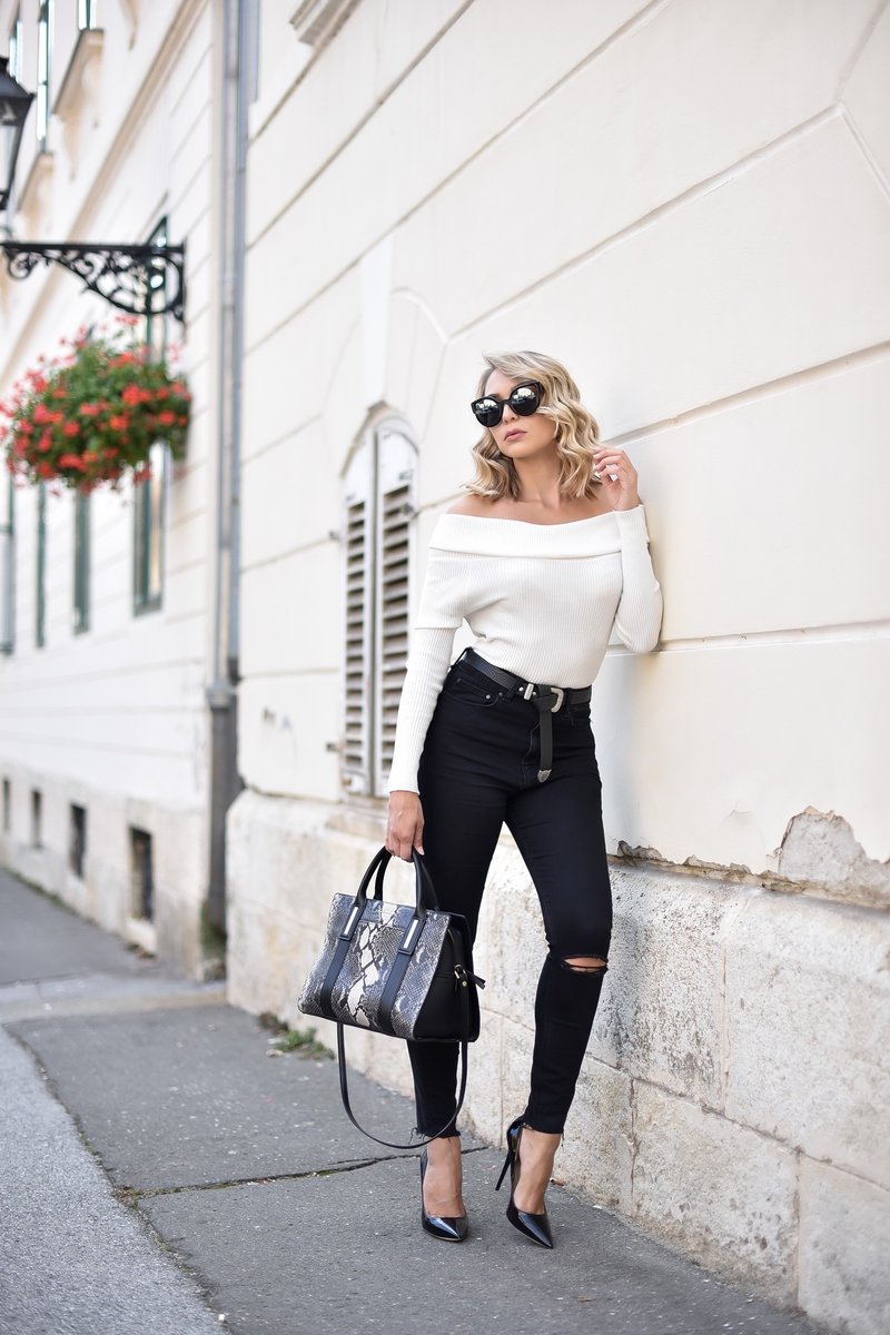 X off-shoulder sweaterX white sweaterX skinny jeansX beltX bagX calvin kleinX jimmy chooX sunglassesX fendiX fendi sunglasses