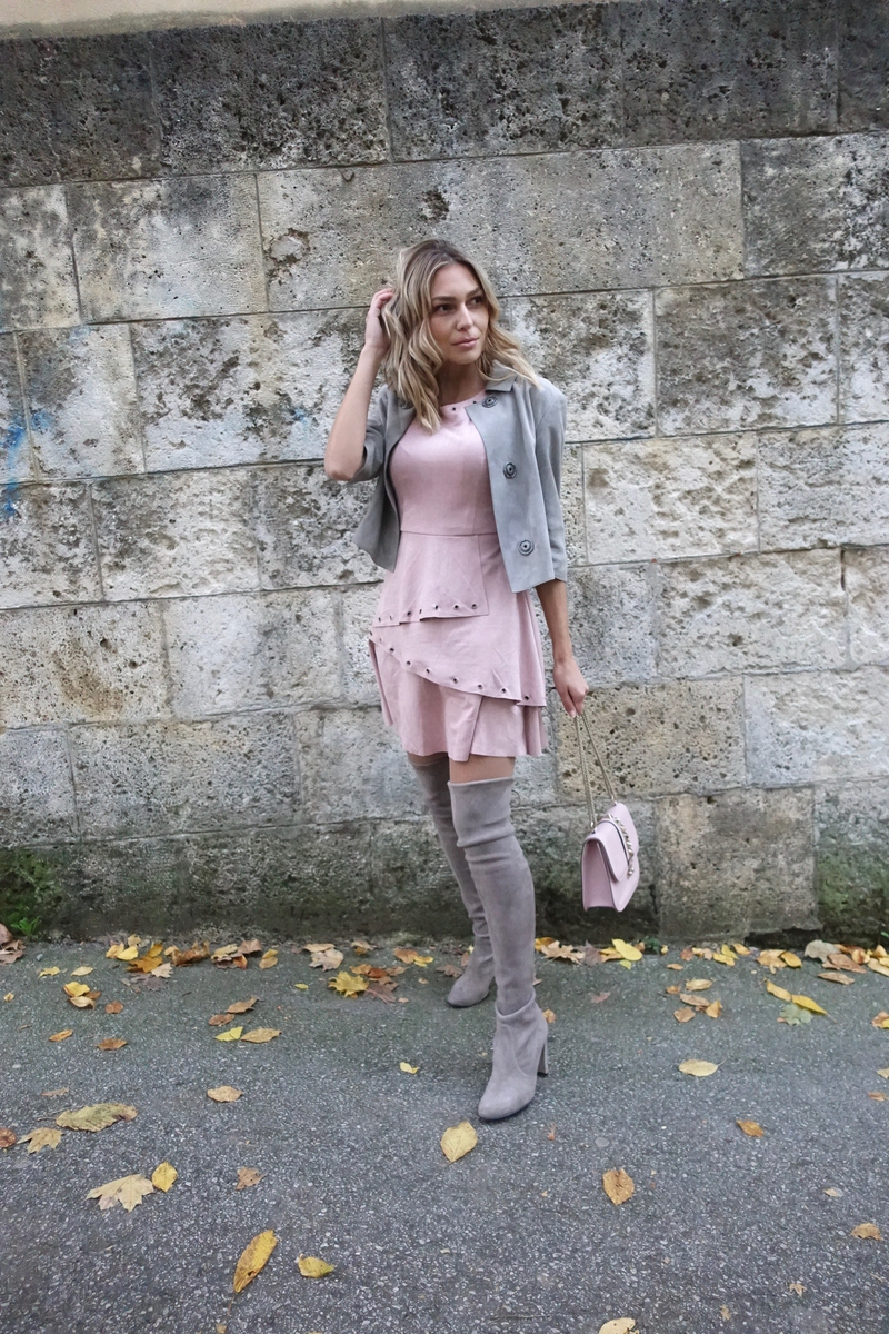 X suedeX suede bootsX suede dressX dressX valentino bagX bagX stuart weitzmanX stuart weitzman bootsX pinkX grayX jacket