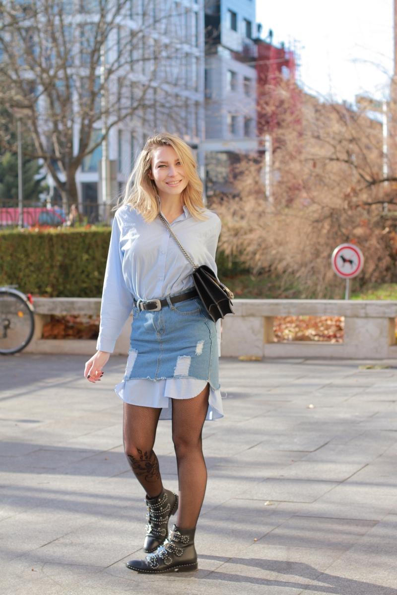 X skirtX shirtX shirt dressX denim skirtX mesh tightsX bagX gussiX ankle bootsX givenchy
