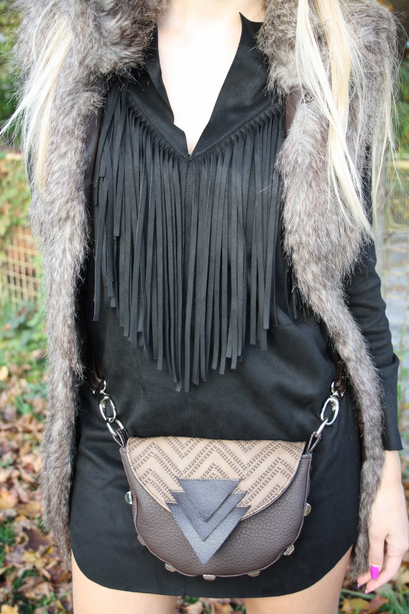 suede fringed little black dress, poppy bag, zara