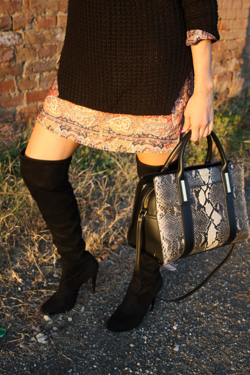 over-the-knee boots, black, oversize, dress, sweater, calvin klein, bag