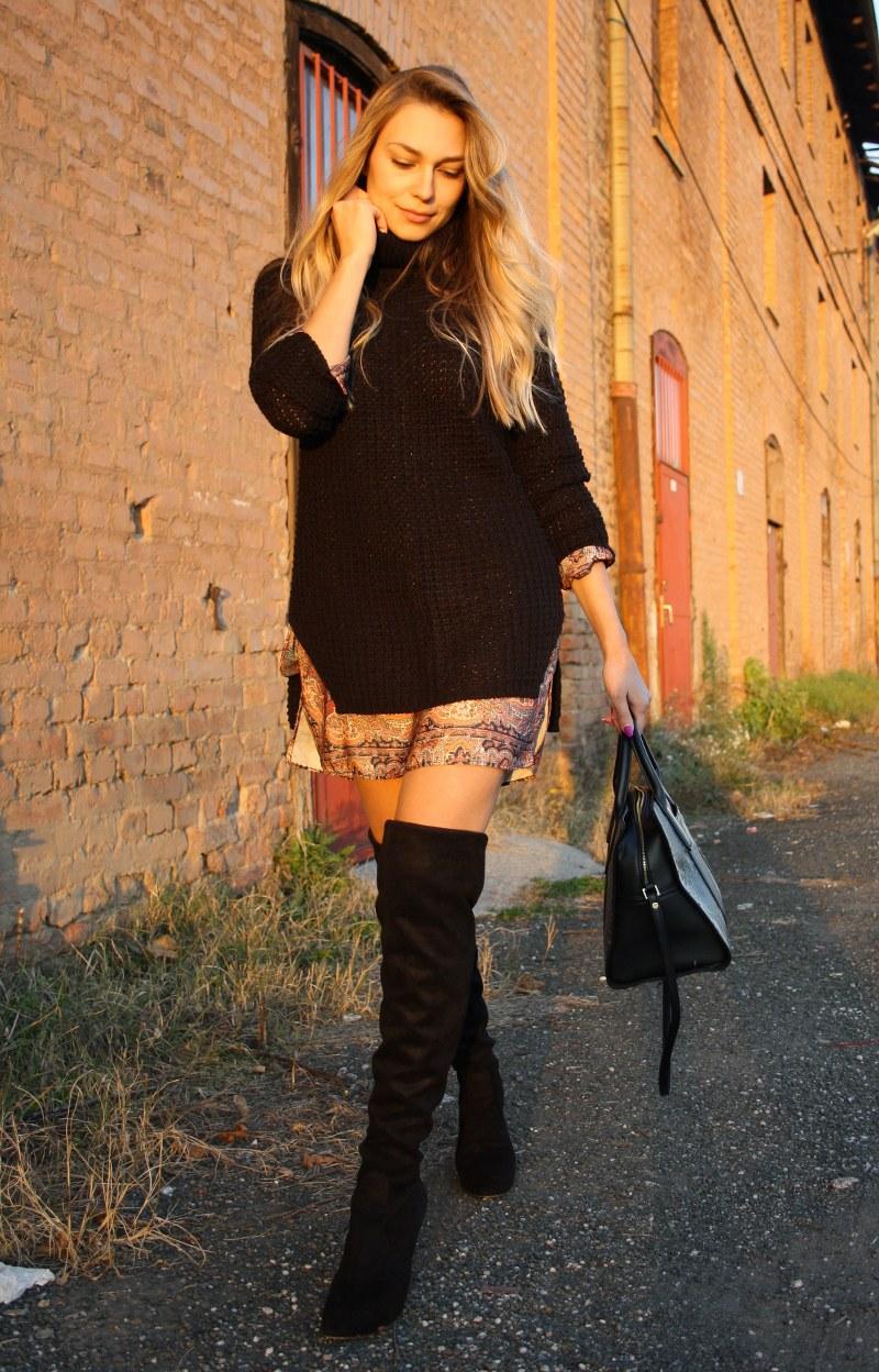 over-the-knee boots, black, oversize, dress, sweater, calvin klein, bag