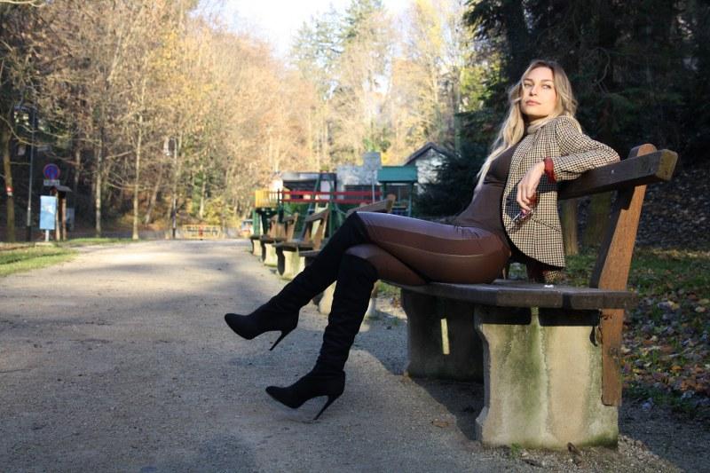 hm, wool blazer, turtleneck, leather leggings, knee-high boots, sunglasses