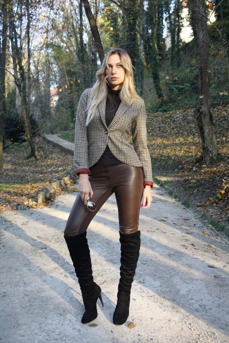 hm, wool blazer, turtleneck, leather leggings, knee-high boots, sunglasses