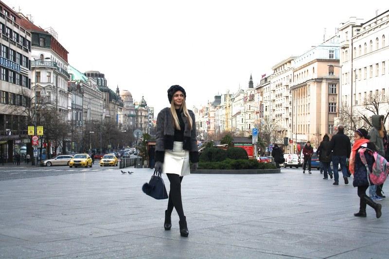 silvian heach, fur coat, fur hat, pinko, skirt, louis vuitton, alma pm bag, booties, zara