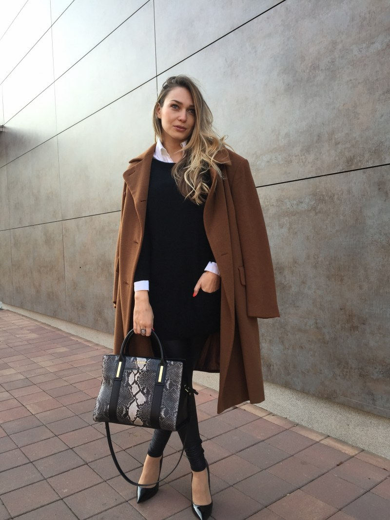 camel coat, wool coat, carven, black dress, white shirt, zara, leggings, h&m, bag, calvin klein, pumps, jimmy choo