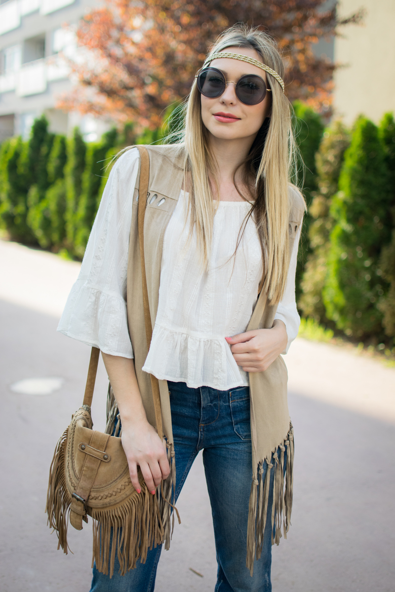 fringed, boho, boho style, fringed bag, fringed vest, off-the-shoulder blouse, bell bottom jeans, bell bottoms, sunglasses, miu miu, miu miu sunglasses, coachella, coachella boho style