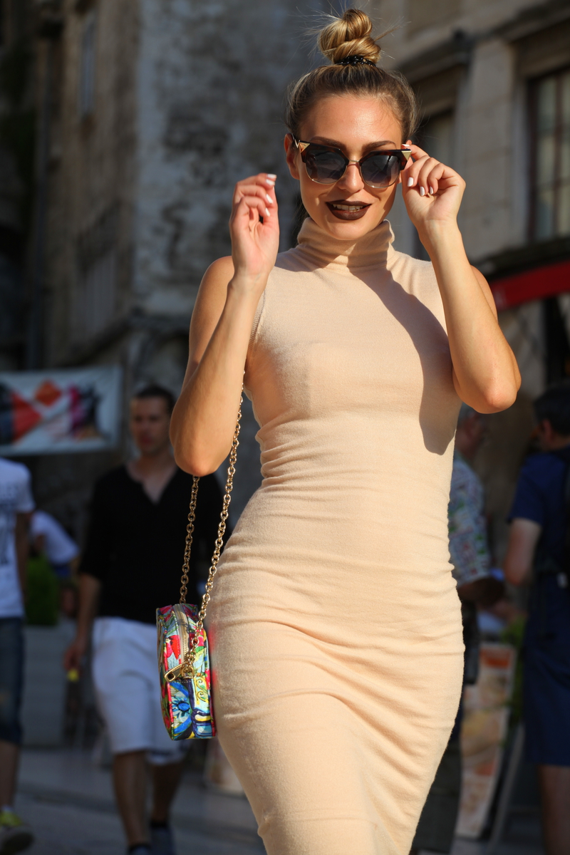 dress, body con dress, rebecca stella, finder sunglasses, dark lipstick, bag, DOLCE & GABBANA, shoes, bcbg