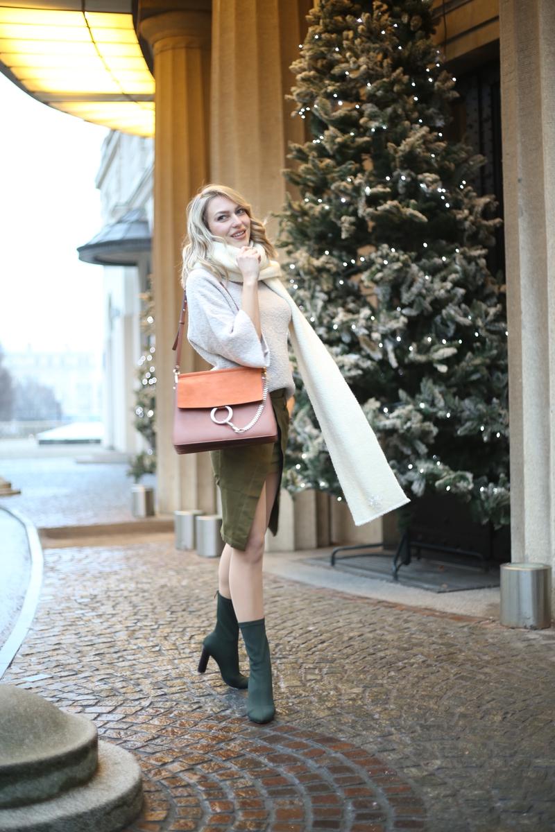 X military greenX skirtX bootsX chloe bagX chloeX sweaterX scarf